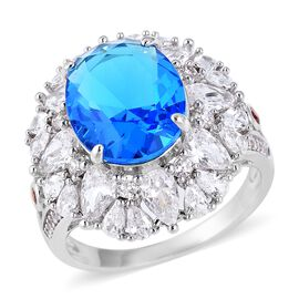 Simulated Blue Sapphire (Ovl), Simulated Diamond, Simulated Garnet Ring (Size N) in Silver Plated
