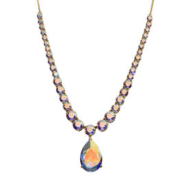 J Francis Crystal from Swarovski - AB Crystal (Pear 30x20 mm) Necklace (Size 18) in 14K Gold Overlay Sterling Silver, Silver wt 27.37 Gms.