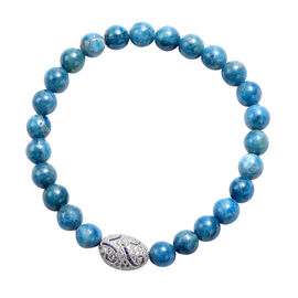 Blue Apatite and Simulated Diamond Beads Stretchable Bracelet (Size 7.5) in Silver Tone 100.00 Ct.