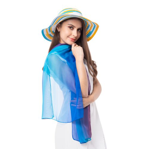 Blue and Multi Colour Stripe Pattern Scarf (Size 155x50 Cm) with Matching Hat (Size 36x11 Cm)