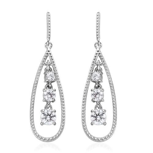 J Francis - Platinum Overlay Sterling Silver (Rnd) Drop Earrings (with Push Back) Made with SWAROVSK