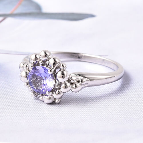 LucyQ Bubble Collection - Premium Tanzanite Ring in Rhodium Overlay Sterling Silver