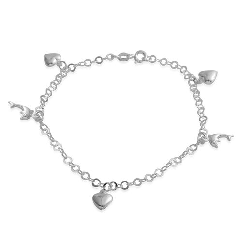 Sterling Silver Anklet (Size 10) with Heart and Fish Charm, Silver wt 4.30 Gms.