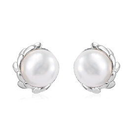 Freshwater Pearl (Rnd) Stud Earrings (with Push Back) in Platinum Overlay Sterling Silver