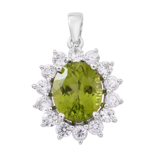 9K White Gold AAAA Rare Size Hebei Peridot (Ovl 4.75 Ct), Natural Cambodian Zircon Pendant 6.250 Ct.