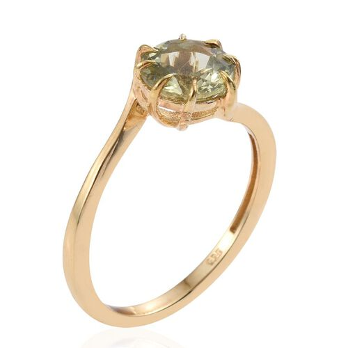 Natural Canary Apatite (Rnd) Solitaire Ring in 14K Gold Overlay Sterling Silver 2.250 Ct.