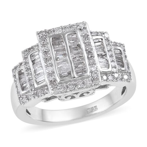 0.75 Ct Diamond Cluster Ring in Platinum Plated Sterling Silver