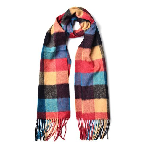 100% Wool Red, Blue and Multi Colour Checker Pattern Scarf with Tassels (Size 180x32 Cm)