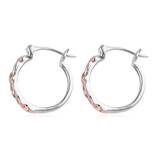 Rose Gold and Platinum Overlay Sterling Silver Hoop Earrings (with Clasp), Silver wt 2.93 Gms