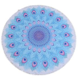 Blue and Pink Colour Peacock Feather Pattern Microfiber Round Towel with Fringes (Size 150 Cm)