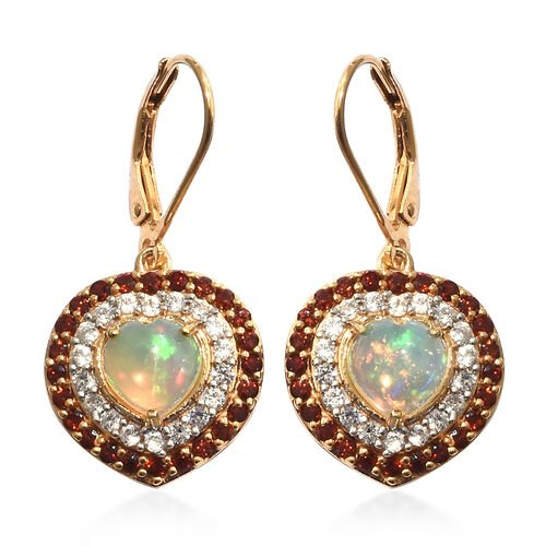 Ethiopian Welo Opal (Hrt), Mozambique Garnet, Natural Cambodian Zircon Lever Back Heart Earrings in 14K Gold Overlay Sterling Silver  3.500 Ct.