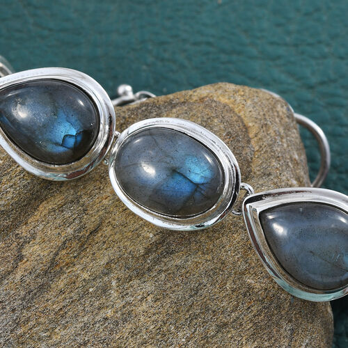 Artisan Crafted Labradorite Bracelet (Size 7 with Extender) in Sterling Silver   40.540 Ct, Silver wt 12.59 Gms