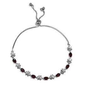 3.75 Ct Mozambique Garnet Butterfly Bolo Adjustable Bracelet in Platinum Plated 6.5 to 9.5 Inch