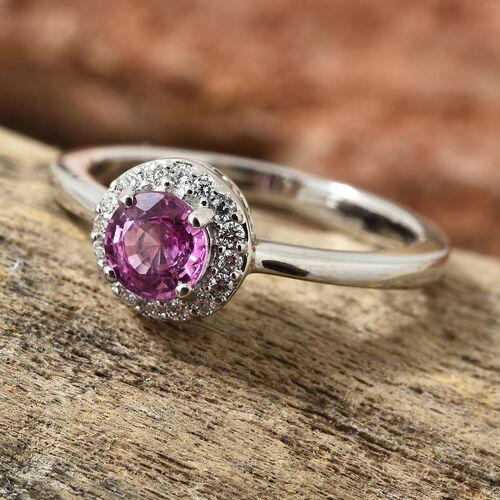 RHAPSODY 950 Platinum AAAA Pink Sapphire (Rnd), Diamond Halo Ring 0.850 Ct.