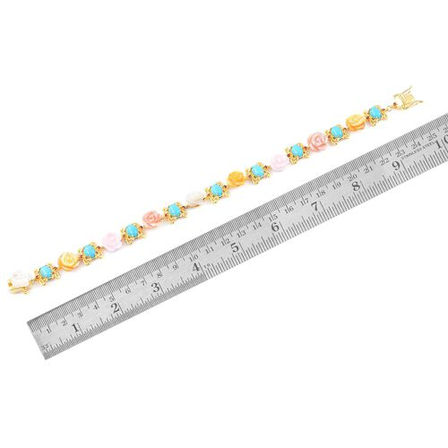 Limited Edition-Arizona Sleeping Beauty Turquoise (Ovl), Mozambique Garnet, White, Pink and Yellow Mother of Pearl Floral Bracelet (Size 7.5) in Yellow Gold Overlay Sterling Silver 26.730 Ct.
