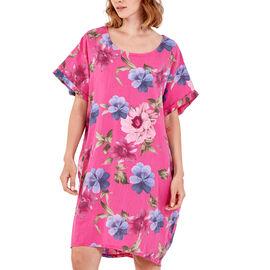 Nova of London - Floral High Low Linen  Two Pocket Dress (Size 8-18) - Hot Pink