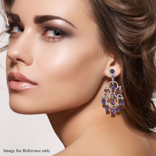 Lusaka Amethyst Dangle Earrings (with Push Back) in Rhodium Overlay Sterling Silver 6.88 Ct, Silver wt. 7.20 Gms