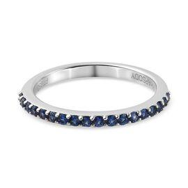 RHAPOSODY 950 Platinum AAAA Ceylon Sapphire Half Eternity Ring