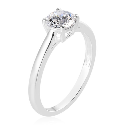 2 Piece Set - J Francis Sterling Silver Solitaire Ring and Stud Earrings (with Push Back) Made with SWAROVSKI ZIRCONIA 3.00 Ct.