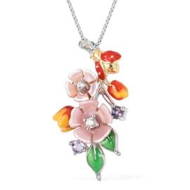 JARDIN COLLECTION - Pink Mother of Pearl, Tanzanite and Natural White Cambodian Zircon Enameled Floral Pendant With Chain in Rhodium Overlay Sterling Silver