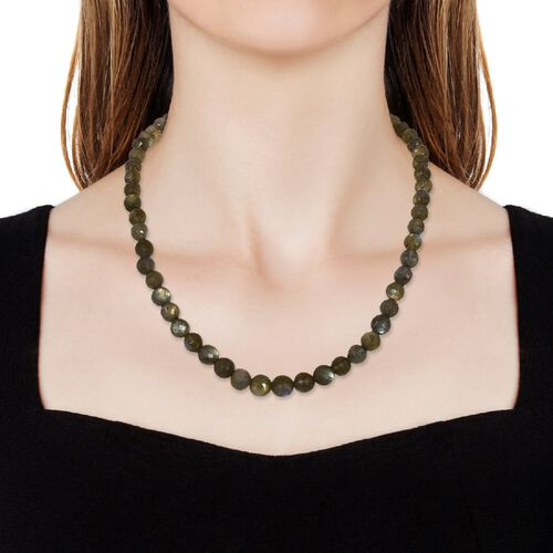 One Time Deal- Labradorite Beads Necklace (Size 18) with Magnetic Lock in Sterling Silver 190.00 Ct.