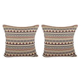 Set of 2 - Turkish Kilim Pattern Cushion Covers - Yellow and Multi