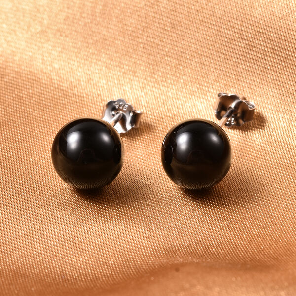 Black Agate (Rnd) Earrings (with Push Back) in Rhodium Overlay Sterling Silver 8.00 Ct.