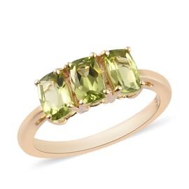 9K Yellow Gold Hebei Peridot Trilogy Ring 1.500  Ct.