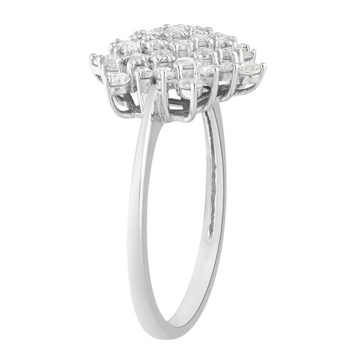 14K White Gold SGL Certified Natural Diamond (I1/G-H) Cluster Ring 1.00 Ct.