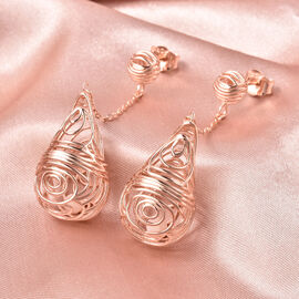 Isabella Liu Sea Rhyme Collection - White Mother of Pearl (Rnd) Dangle Earrings (with Push Back) in Rose Gold Overlay Sterling Silver