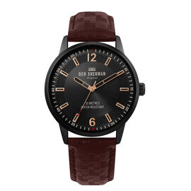 BEN SHERMAN Black Sunray Dial Watch with Brown Leather Strap