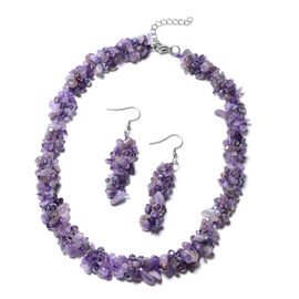 Amethyst and Purple Colour Beaded Necklace and Hook Earrings 18 with 1.5 inch Extender