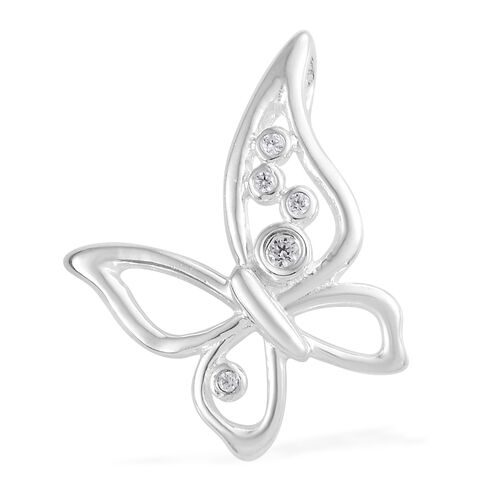 J Francis - Sterling Silver (Rnd) Butterfly Pendant Made with SWAROVSKI ZIRCONIA