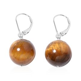 One Time Deal - Tiger Eye (Rnd) Lever Back Earrings in Rhodium Overlay Sterling Silver 29.000 Ct.