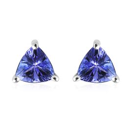 9K White Gold  Tanzanite (Trl) Stud Earrings (With Push Back) 1.000 Ct.