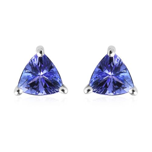 1 Carat AA Tanzanite Solitaire Stud Earrings in 9K White Gold