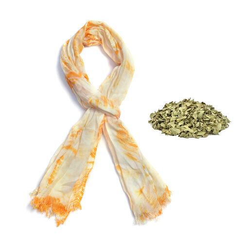 Natural Henna Dyed-  Diamond Weave Pattern Shawl (Size 180x70 Cm)