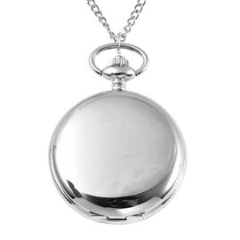 STRADA Japanese Movement Water Resistant Pocket Watch with Chain in Silver Tone