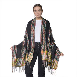 Winter Christmas Special- Designer Inspired Check Print Scarf with Tassels (Size 185x69cm)- Black an