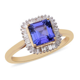 ILIANA 18K Yellow Gold AAA Tanzanite (7x7mm Asscher Cut), Diamond Ring 1.85 Ct.