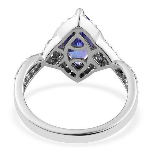 RHAPSODY 950 Platinum AAAA Tanzanite and Diamond (VS/E-F) Ring 2.50 Ct, Platinum wt 5.33 Gms