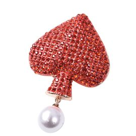 Silmulated Pearl (Rnd) and Red Austrain Crystal Spade Card Desgin Brooch in Rose Gold Tone