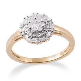 9K Yellow Gold SGL Certified Diamond (Rnd and Bgt) (I3/G-H) Ring 0.330 Ct.