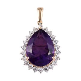 9K Yellow Gold AAA Zambian Amethyst (Pear 20x15 mm), Natural Cambodian Zircon Pendant 18.50 Ct.