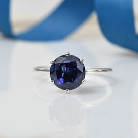 ELANZA Simulated Tanzanite Solitaire Ring in Sterling Silver