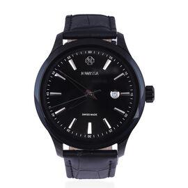 JOWISSA Tiro Swiss Mens 5 ATM Water Resistant Watch with Alligator Print Genuine Leather Strap - Bla
