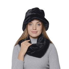 2 Piece Set - Solid Black Colour Faux Fur Hat (70x20cm) and Scarf (16x160cm)