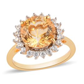 Citrine and Natural Cambodian Zircon Halo Ring in 14K Gold Overlay Sterling Silver 3.88 Ct.