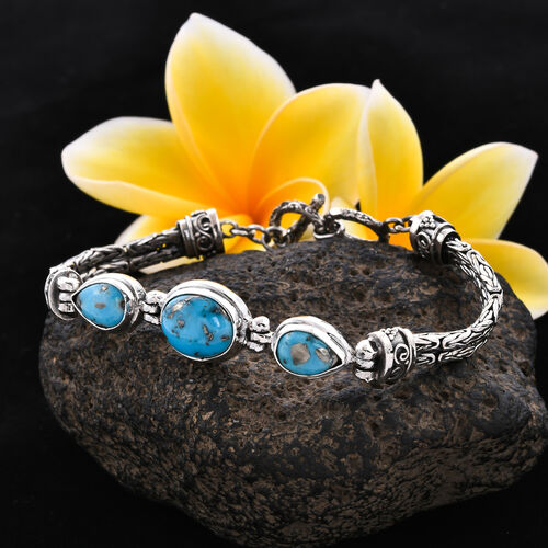 Persian Turquoise (Ovl and Pear) Borobudur Bracelet (Size 7.5) in Sterling Silver 8.76 Ct, Silver wt 23.36 Gms