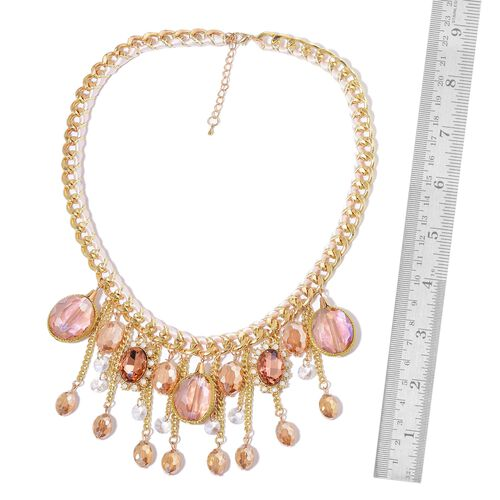 Simulated Champagne Diamond, Simulated White Diamond and White Austrian Crystal Necklace (Size 20 with 3 inch Extender) in Yellow Gold Tone